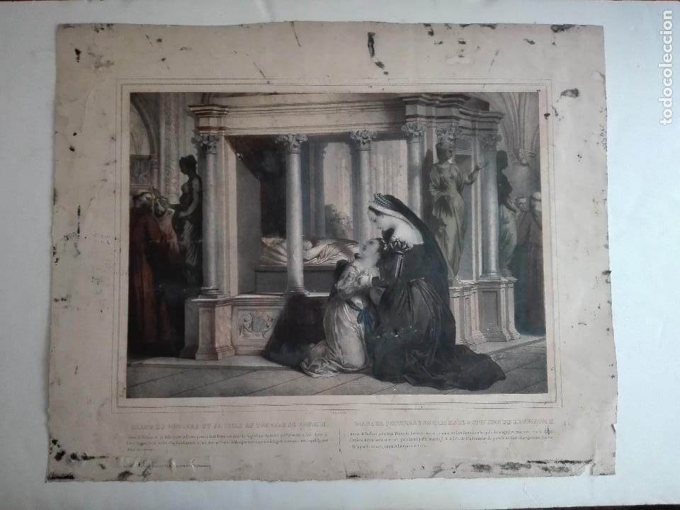 DIANA DE POITIERS Y SU HIJA EN EL SEPULCRO DE ENRIQUE II - LITOGRAFIA FRANCESA - SIGLO XIX - (Arte - Arte Religioso - Litografías)