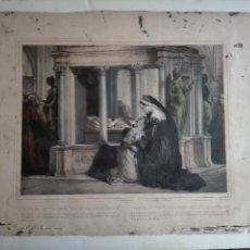Arte: DIANA DE POITIERS Y SU HIJA EN EL SEPULCRO DE ENRIQUE II - LITOGRAFIA FRANCESA - SIGLO XIX -. Lote 126640463