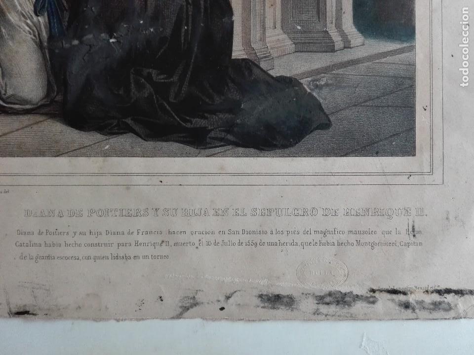 Arte: DIANA DE POITIERS Y SU HIJA EN EL SEPULCRO DE ENRIQUE II - LITOGRAFIA FRANCESA - SIGLO XIX - - Foto 3 - 126640463
