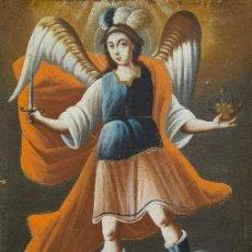 Arte: SAN MIGUEL ARCÁNGEL. ÓLEO SOBRE LIENZO. ESCUELA COLONIAL, S. XVII.. Lote 119050971