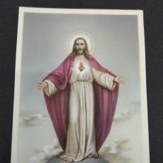 Arte: SAGRADO CORAZON DE JESUS OBRA PINTADA SOBRE PAPEL MAGNIFICA ANTONIO COLLINO ILUSTRADOR POSTALES. Lote 126895470