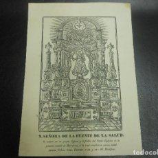 Arte: SIGLO XIX GRABADO XILOGRAFICO VIRGEN NUESTRA SEÑORA DE LA FUENTE DE LA SALUD BARCELONA - RELIGION. Lote 126981635