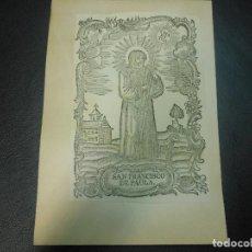 Arte: SIGLO XIX GRABADO XILOGRAFICO SAN FRANCISCO DE PAULA - RELIGION. Lote 126989235