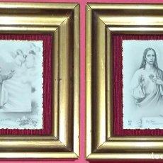 Arte: PAREJA DE MINIATURAS RELIGIOSAS. FOTOGRABADOS DE 1902.. Lote 127010115