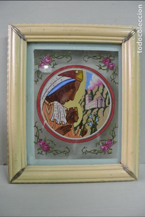 CUADRO. CRISTAL PINTADO. VIRGEN DE MONTSERRAT (Arte - Arte Religioso - Pintura Religiosa - Otros)