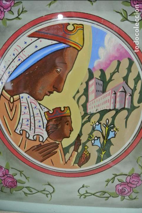 Arte: Cuadro. Cristal pintado. Virgen de Montserrat - Foto 2 - 127121547