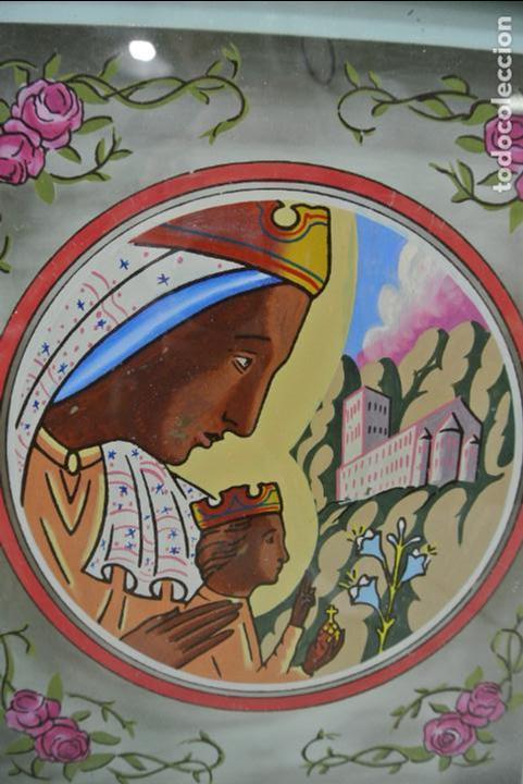 Arte: Cuadro. Cristal pintado. Virgen de Montserrat - Foto 3 - 127121547