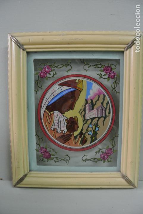 Arte: Cuadro. Cristal pintado. Virgen de Montserrat - Foto 4 - 127121547