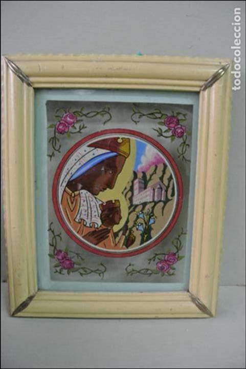 Arte: Cuadro. Cristal pintado. Virgen de Montserrat - Foto 13 - 127121547