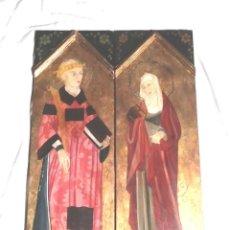 Arte: RETABLO OLEO SOBRE MADERA TÉCNICA ARTE ROMÁNICO, DORADO PAN DE ORO FIRMADO JUAN. MED. 45 X 65 CM. Lote 127604607