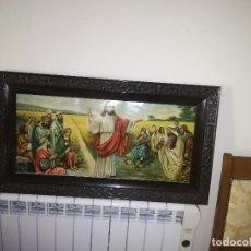 Arte: JESUS PREDICANDO - EXCELENTE CROMOLITOGRAFÍA - AÑOS 30/40 - TAMAÑO; 94 X 53 CMS.. Lote 127728279