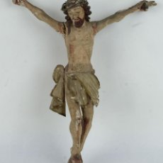 Arte: CRISTO EN MADERA TALLADA Y POLICROMADA ESCUELA ESPAÑOLA SIGLO XVII. Lote 127768887