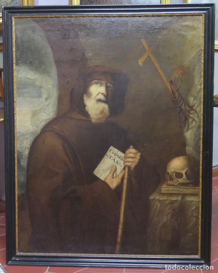 MAGNIFICO SAN FRANCISCO DE PAULA. OLEO S/ LIENZO. PINTOR GABRIEL BALLUERCA. 1696. FIRMADO. BURGOS (Arte - Arte Religioso - Pintura Religiosa - Oleo)