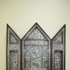 Arte: ANTIGUO ICONO RELIGIOSO TRÍPTICO - PLATA DE LEY 950. Lote 127852351