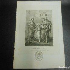 Arte: SIGLO XIX - JESUS MARIA Y JOSE GRABADO EN BARCELONA POR GREGORIO OBRADOR - RELIGION. Lote 127919907