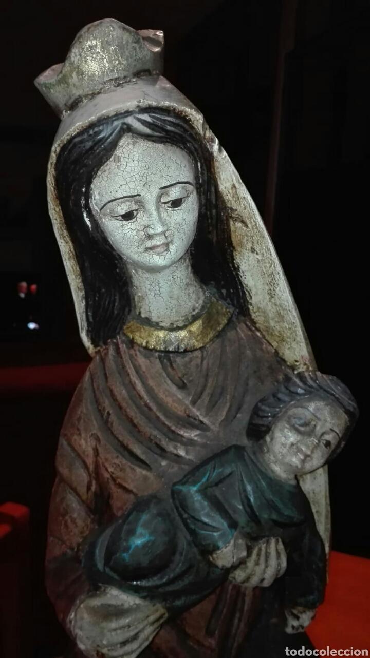 VIRGEN CON NIÑO (TALLA DE MADERA POLICROMADA) (Arte - Arte Religioso - Escultura)