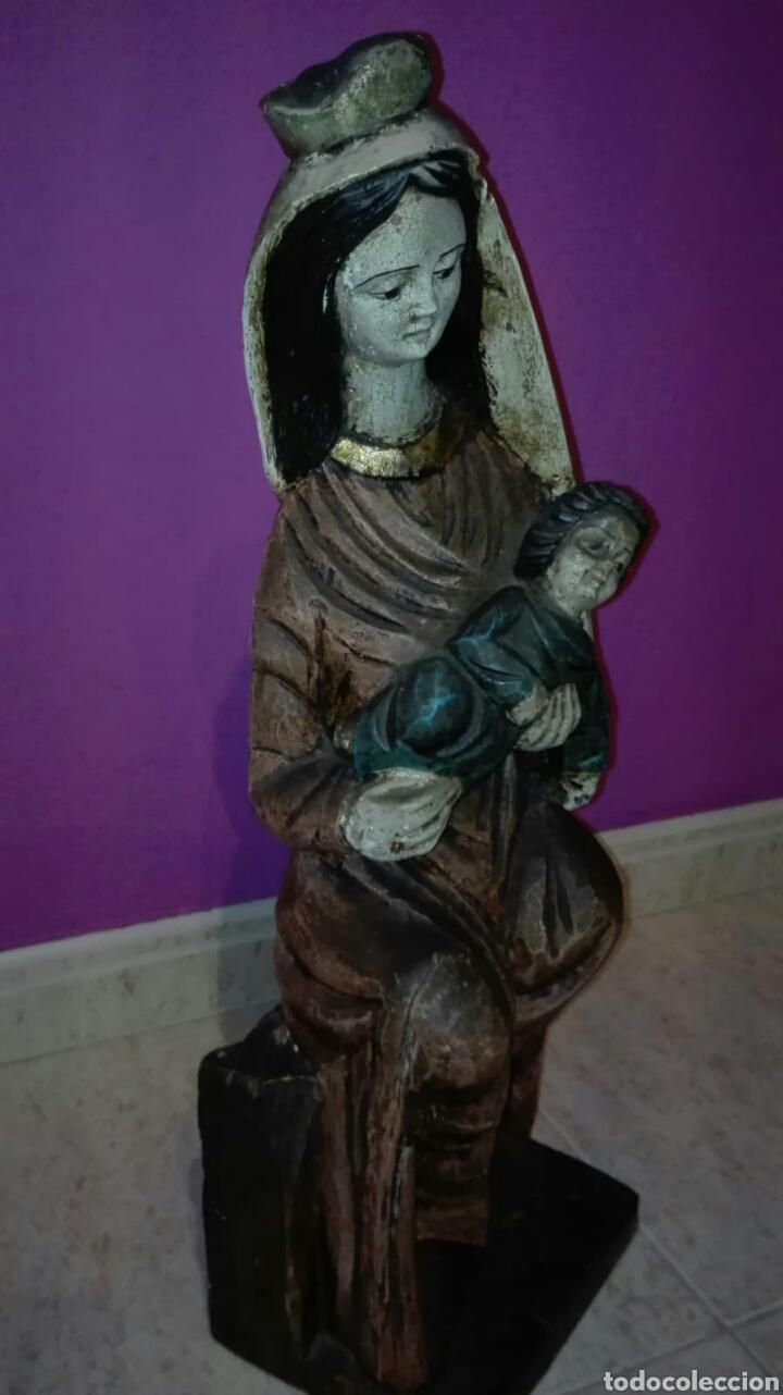 Arte: Virgen con niño (Talla de madera policromada) - Foto 2 - 128121387