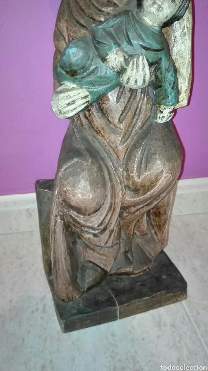 Arte: Virgen con niño (Talla de madera policromada) - Foto 3 - 128121387