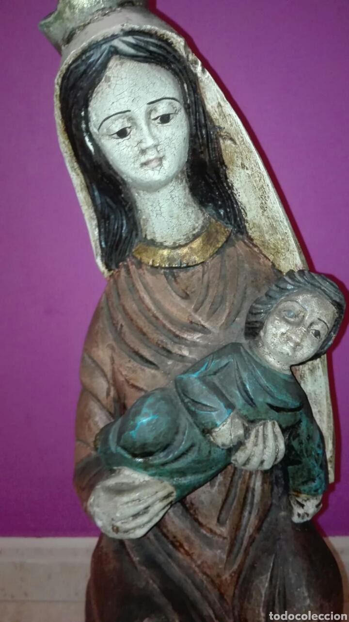 Arte: Virgen con niño (Talla de madera policromada) - Foto 4 - 128121387