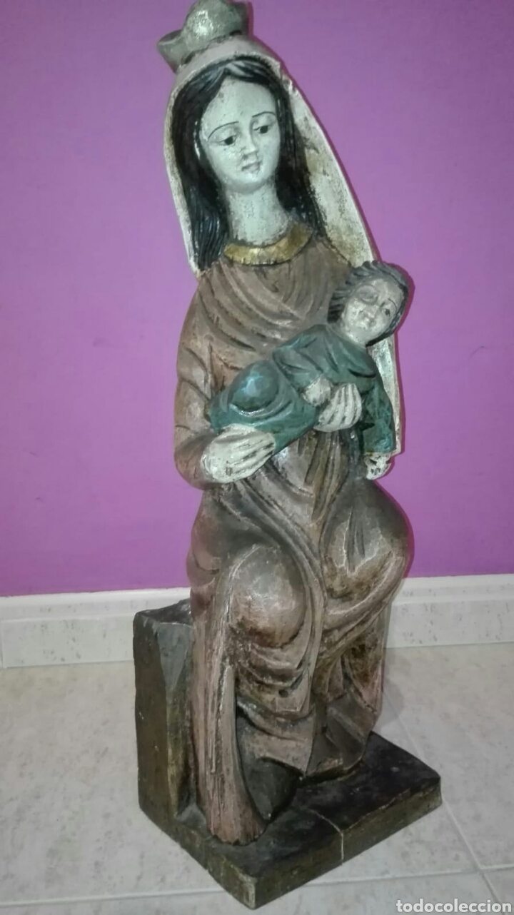 Arte: Virgen con niño (Talla de madera policromada) - Foto 8 - 128121387