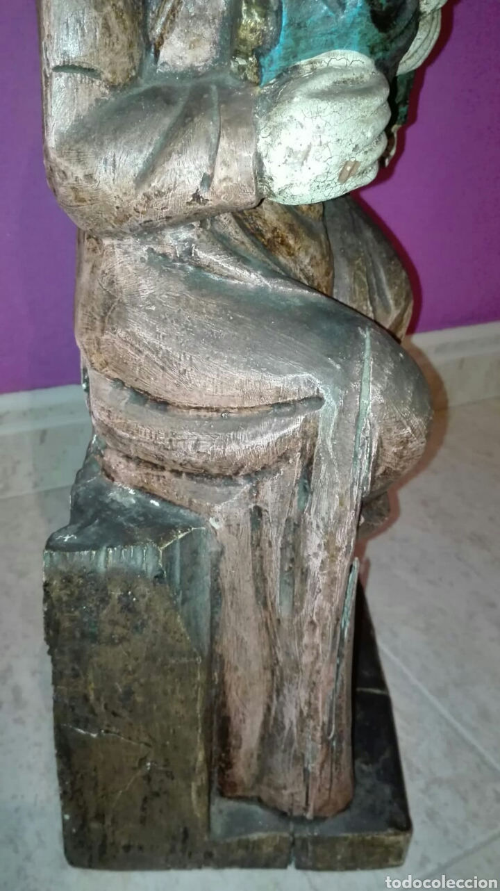 Arte: Virgen con niño (Talla de madera policromada) - Foto 10 - 128121387