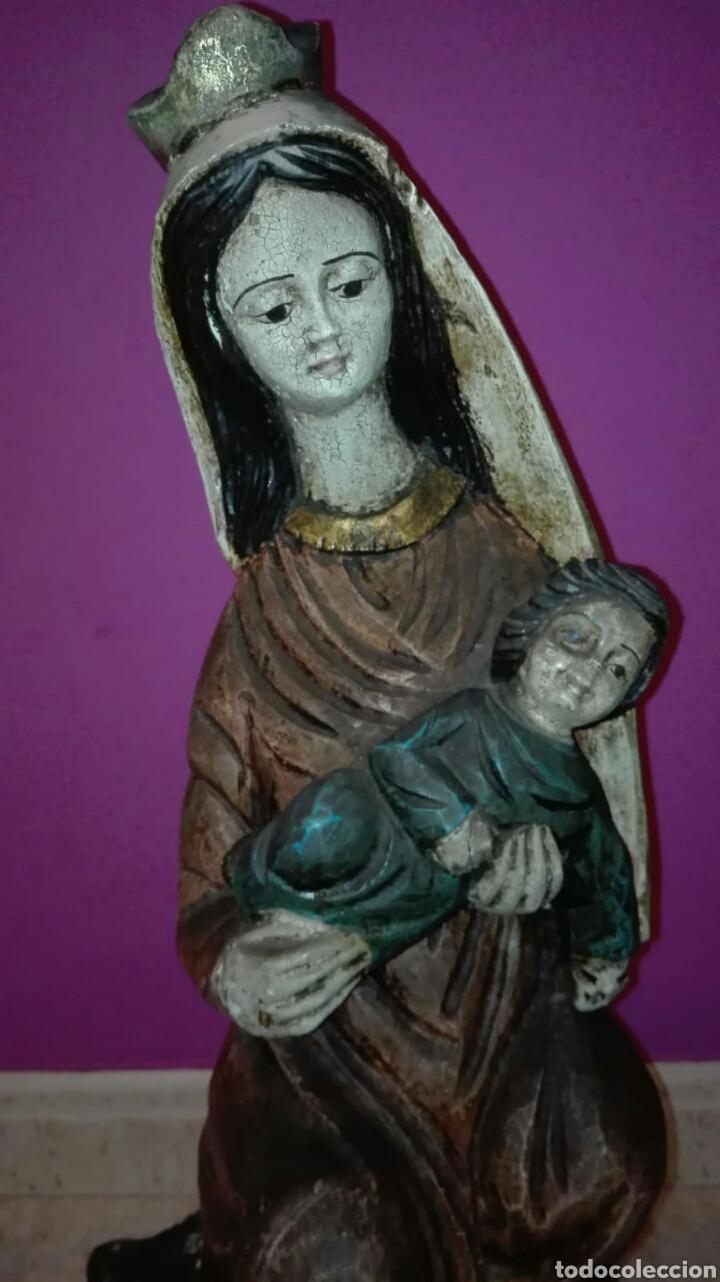 Arte: Virgen con niño (Talla de madera policromada) - Foto 13 - 128121387