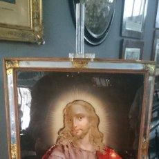 Arte: ANTIGUO ÓLEO BAJO CRISTAL DEL SAGRADO CORAZÓN DE JESÚS. SIGLO XVIII. MARAVILLOSO.. Lote 128185115