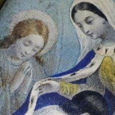 Arte: VIRGEN PROTEGIENDO ALMA INOCENTE. MINIATURA. GRABADO COLOREADO. MARCO EBONIZADO. CIRCA 1850. Lote 128336163