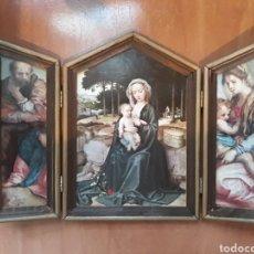 Arte: TRIPTICO RELIGIOSO DE MADERA. Lote 128361010