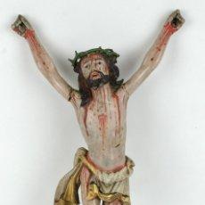 Arte: CRISTO COLONIAL EN MADERA TALLADA Y POLICROMADA SIGLO XVII. Lote 128373183