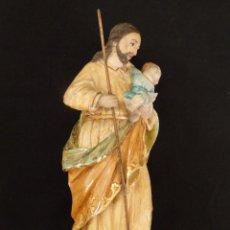 Arte: SAN JOSÉ CON EL NIÑO JESÚS. MADERA TALLADA Y POLICROMADA. 28 CM. HACIA 1900.. Lote 128387747