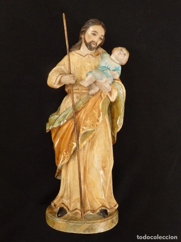 Arte: San José con el Niño Jesús. Madera tallada y policromada. 28 cm. Hacia 1900. - Foto 2 - 128387747