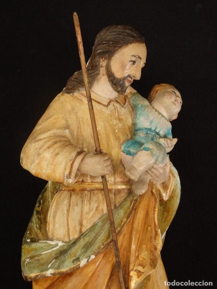 Arte: San José con el Niño Jesús. Madera tallada y policromada. 28 cm. Hacia 1900. - Foto 3 - 128387747