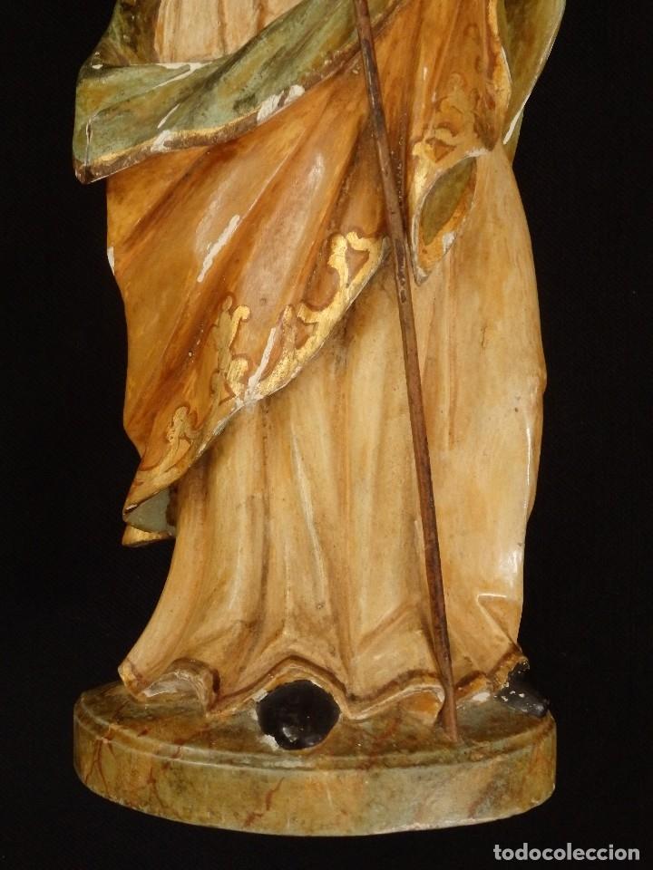 Arte: San José con el Niño Jesús. Madera tallada y policromada. 28 cm. Hacia 1900. - Foto 4 - 128387747