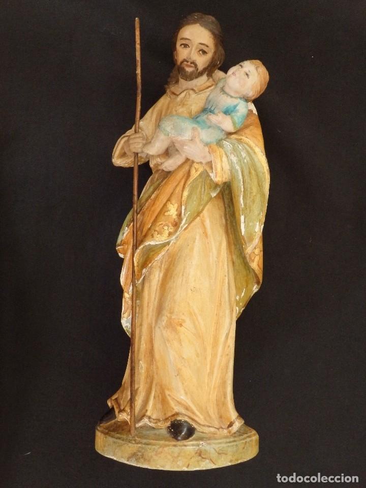 Arte: San José con el Niño Jesús. Madera tallada y policromada. 28 cm. Hacia 1900. - Foto 5 - 128387747