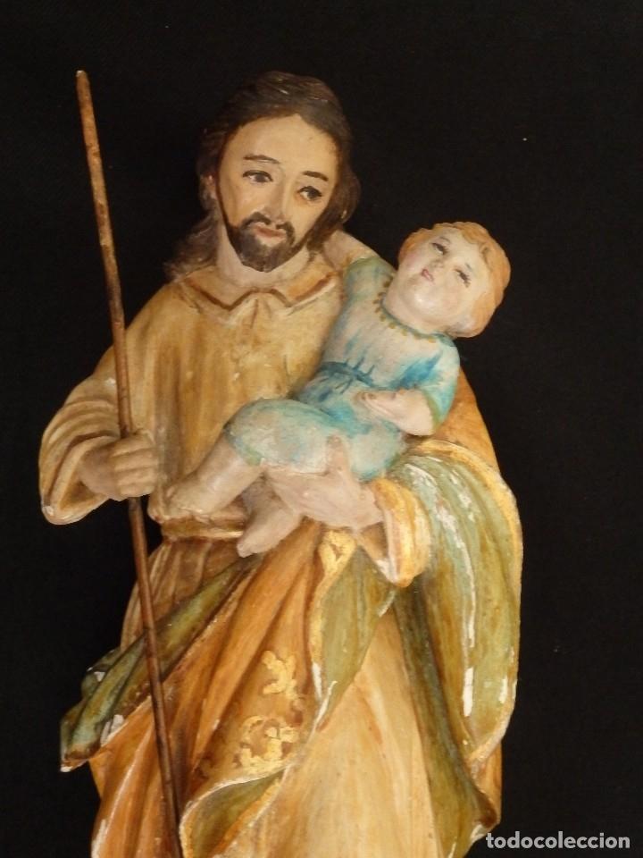 Arte: San José con el Niño Jesús. Madera tallada y policromada. 28 cm. Hacia 1900. - Foto 6 - 128387747