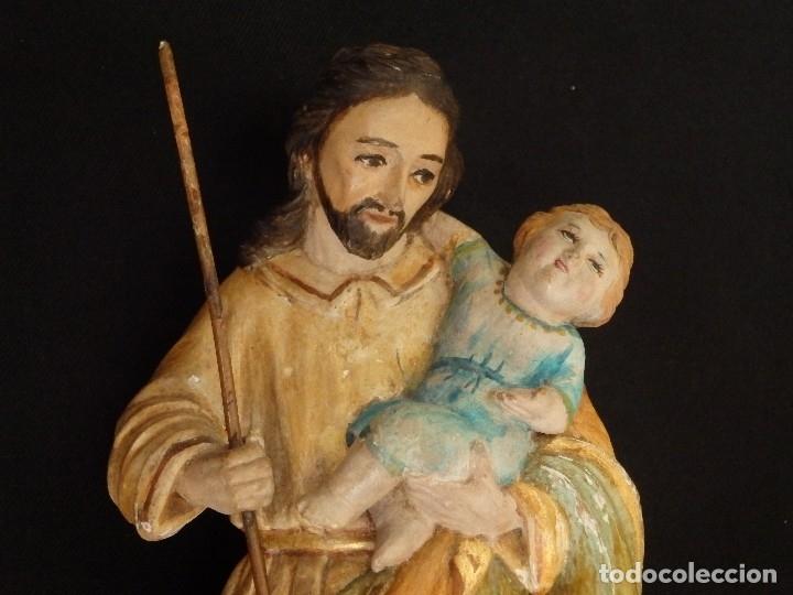 Arte: San José con el Niño Jesús. Madera tallada y policromada. 28 cm. Hacia 1900. - Foto 7 - 128387747