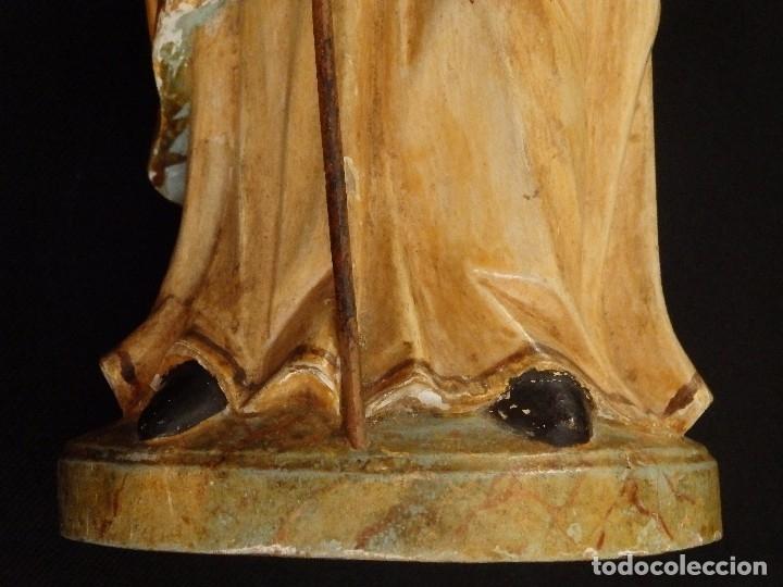 Arte: San José con el Niño Jesús. Madera tallada y policromada. 28 cm. Hacia 1900. - Foto 8 - 128387747