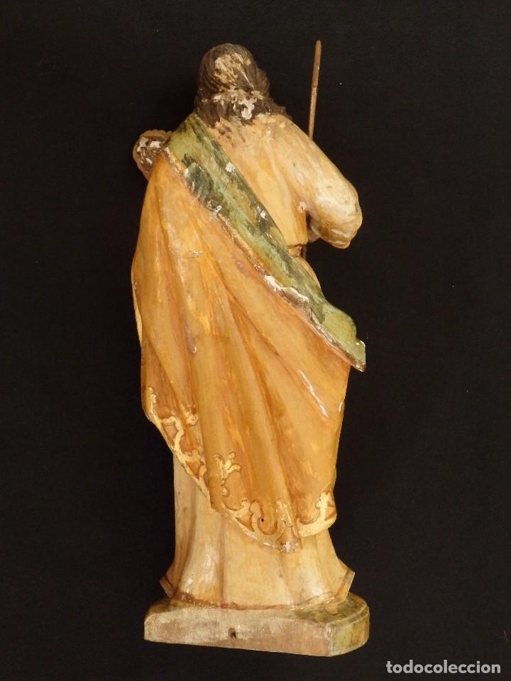 Arte: San José con el Niño Jesús. Madera tallada y policromada. 28 cm. Hacia 1900. - Foto 9 - 128387747