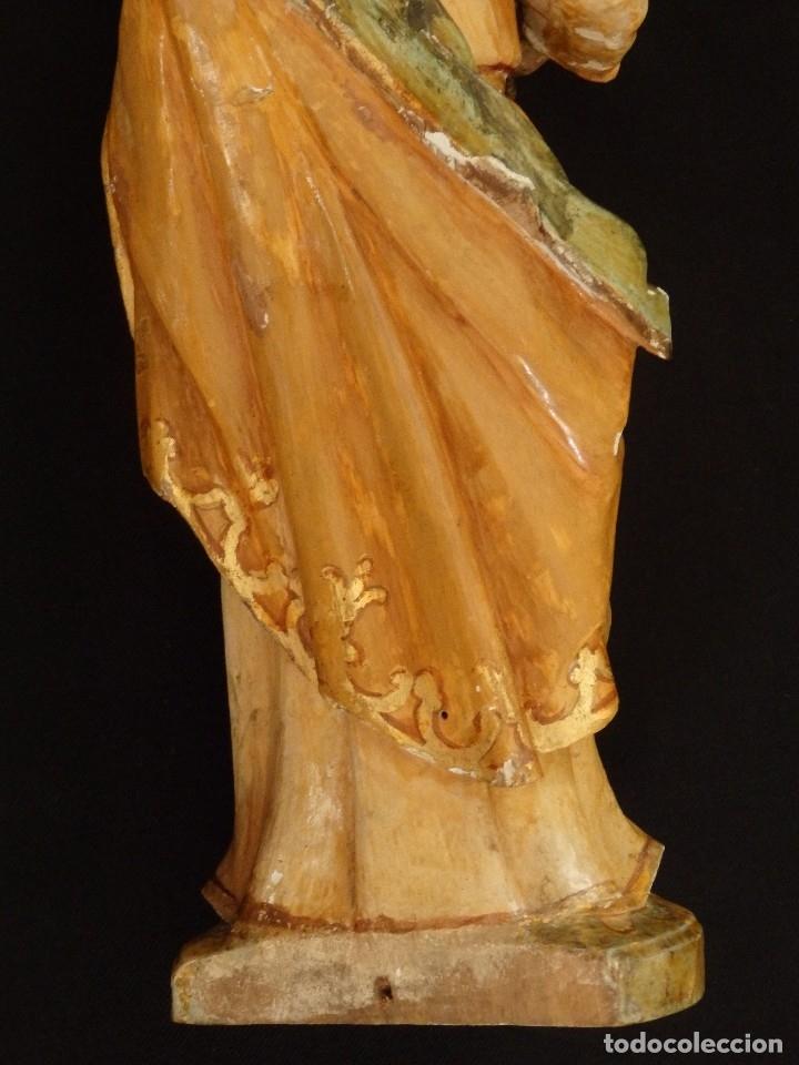 Arte: San José con el Niño Jesús. Madera tallada y policromada. 28 cm. Hacia 1900. - Foto 11 - 128387747