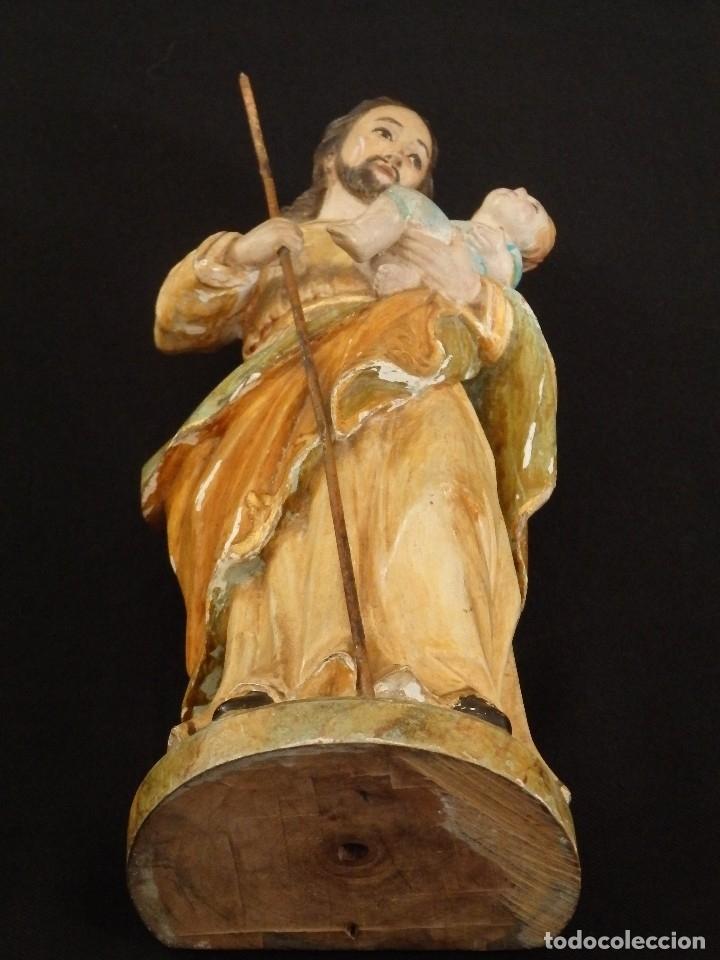 Arte: San José con el Niño Jesús. Madera tallada y policromada. 28 cm. Hacia 1900. - Foto 13 - 128387747