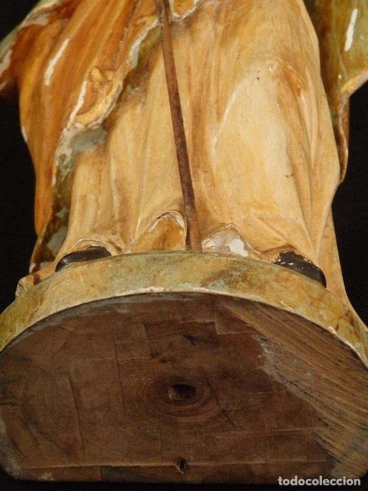 Arte: San José con el Niño Jesús. Madera tallada y policromada. 28 cm. Hacia 1900. - Foto 14 - 128387747