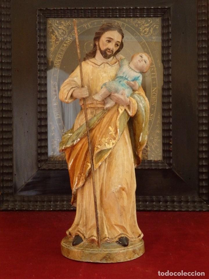 Arte: San José con el Niño Jesús. Madera tallada y policromada. 28 cm. Hacia 1900. - Foto 17 - 128387747
