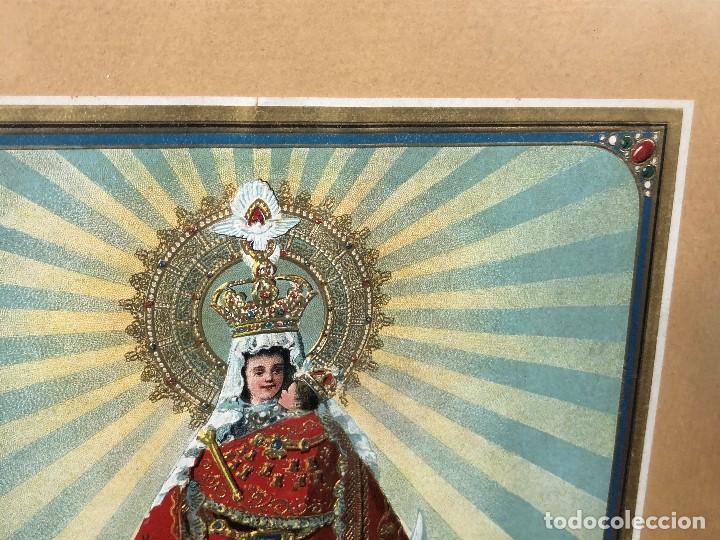 Arte: CROMOLITOGRAFIA DORADA TROQUELADA NUESTRA SEÑORA DE LA MONTAÑA ANGEL ANGELES PPIO S XX 35X26CMS - Foto 7 - 128437415