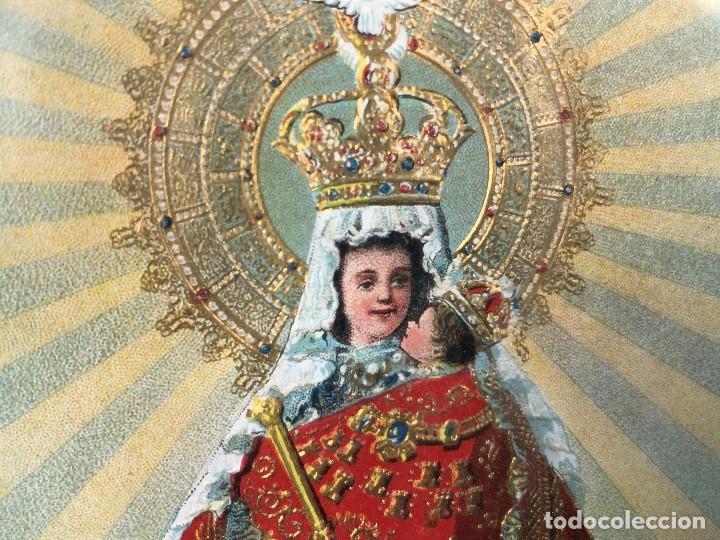 Arte: CROMOLITOGRAFIA DORADA TROQUELADA NUESTRA SEÑORA DE LA MONTAÑA ANGEL ANGELES PPIO S XX 35X26CMS - Foto 4 - 128437415