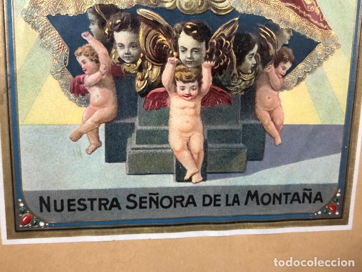 Arte: CROMOLITOGRAFIA DORADA TROQUELADA NUESTRA SEÑORA DE LA MONTAÑA ANGEL ANGELES PPIO S XX 35X26CMS - Foto 10 - 128437415