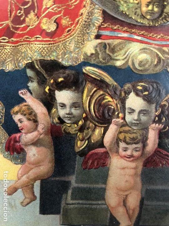 Arte: CROMOLITOGRAFIA DORADA TROQUELADA NUESTRA SEÑORA DE LA MONTAÑA ANGEL ANGELES PPIO S XX 35X26CMS - Foto 14 - 128437415