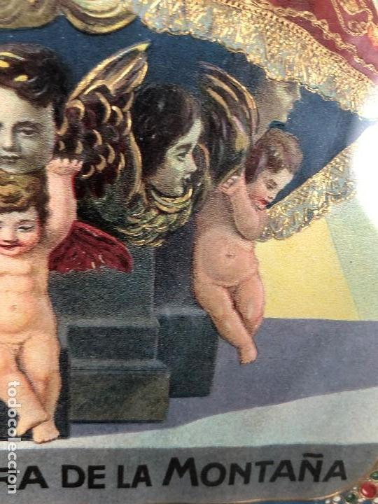 Arte: CROMOLITOGRAFIA DORADA TROQUELADA NUESTRA SEÑORA DE LA MONTAÑA ANGEL ANGELES PPIO S XX 35X26CMS - Foto 16 - 128437415