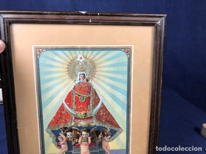 Arte: CROMOLITOGRAFIA DORADA TROQUELADA NUESTRA SEÑORA DE LA MONTAÑA ANGEL ANGELES PPIO S XX 35X26CMS - Foto 2 - 128437415