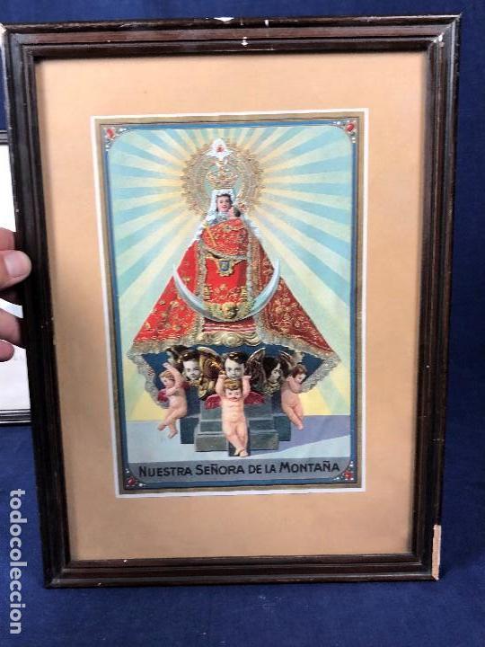 CROMOLITOGRAFIA DORADA TROQUELADA NUESTRA SEÑORA DE LA MONTAÑA ANGEL ANGELES PPIO S XX 35X26CMS (Arte - Arte Religioso - Litografías)